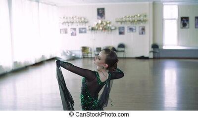 Girl dancing ballroom dancing. 4k