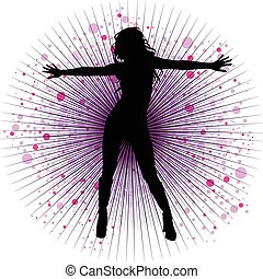 girl dancing - Vector girl dancing in night-club with flash