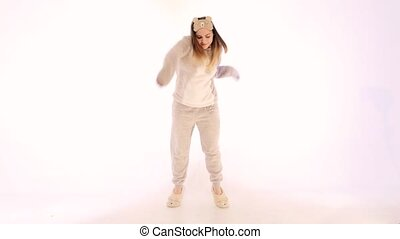 Girl dancing Fast on white background