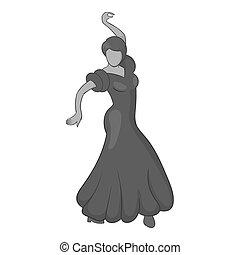 Girl dancing flamenco icon, gray monochrome style