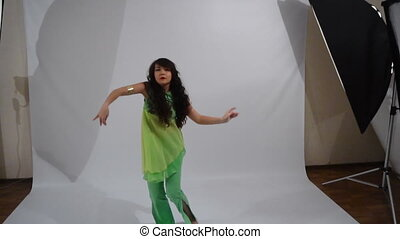 Girl dancing folk dance - A girl of Yakut nationality dances...