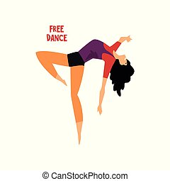 Girl dancing free dance vector Illustration on a white background