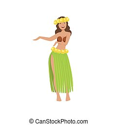 Girl Dancing Hula Hawaiian Vacation Classic Symbol. Isolated...