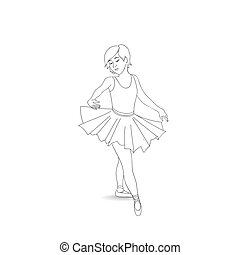 Girl dancing in ballet shoes and ballet tutu. Little ballerina