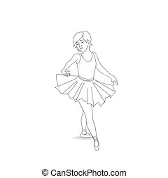 Girl dancing in ballet shoes and ballet tutu. Little ballerina i