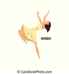 Girl dancing nouveau dance vector Illustration on a white background