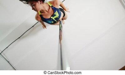 Girl dancing on a pole, dancer, fitness and sport. Pole ...