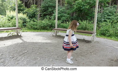 Girl dancing on nature