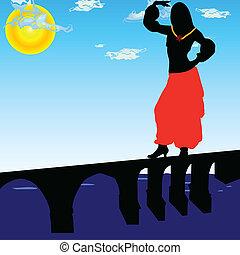 girl dancing on the bridge vector illustration