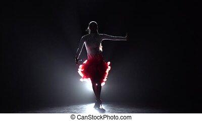 Girl dancing samba. Slow motion