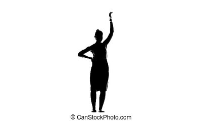 Girl dancing social latino dancers on white, slow motion, silhouette