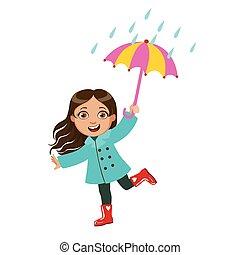 Girl Dancing Under Raindrops With Umbrella, Kid In Autumn...