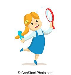 Girl dancing with a mirror in her hand. Flat vector illustration, isolated on white background.