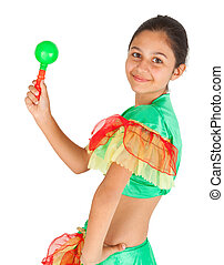 Girl dancing with Latin American clothing