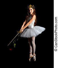 girl dancing with white tutu on black background