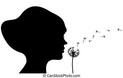 girl dandelion silhouette