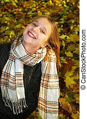girl, dans, a, automne, parc
