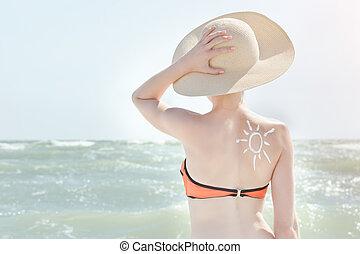 girl, dans, a, chapeau, contre, sea., dos, est, peint, soleil
