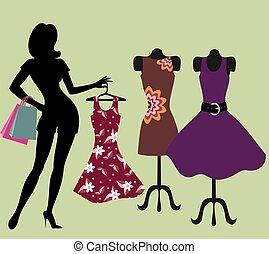 girl, dans, a, habillement, store.
