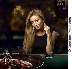 girl, dans, casino