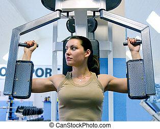 girl, dans, club forme physique