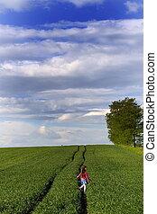 girl, dans, herbe