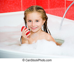 girl, dans, les, bain, à, a, savon
