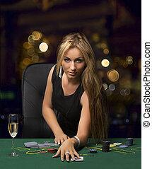 girl, dans, les, casino, poker jouant, bokeh
