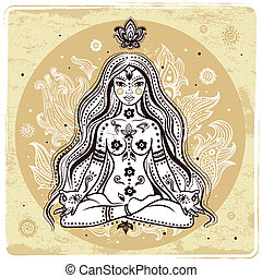 girl, dans, méditation