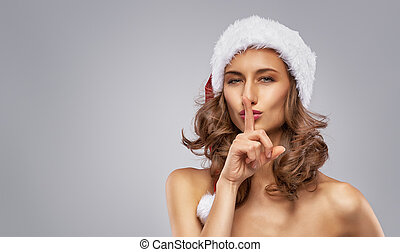 girl, dans, santa, chapeau