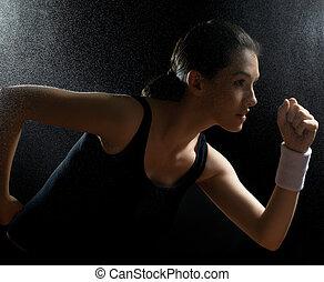 girl, dans, sport