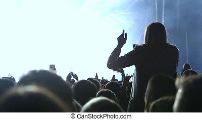 girl, danse, elle, concert, mains, élévation, haut