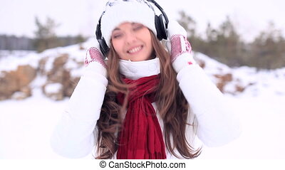 girl., danse, hiver, casque