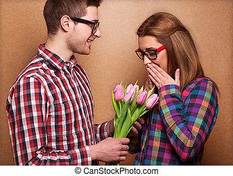 girl., dare, valentine, mazzolino, giorno, uomo
