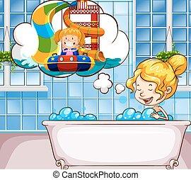 Girl daydreaming in the bathtub
