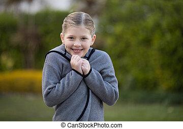 girl, debout, parc, jeune