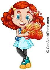 girl, debout, position, cheveux, fruits rouges, mignon, tenue