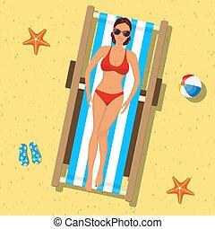 girl, deckchair., bains de soleil