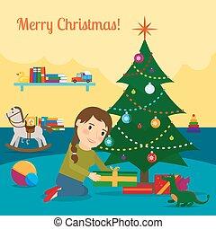 Girl decorate christmas tree