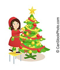 Girl Decorating Christmas Tree Vector Illustration
