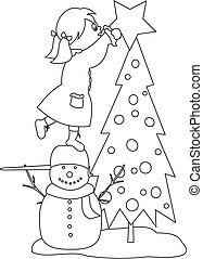 Girl decorating the Christmas tree