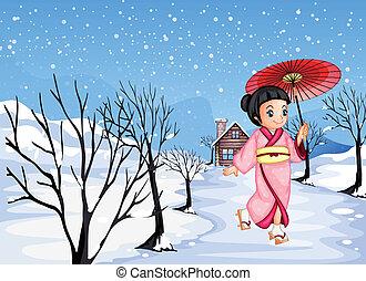 girl, dehors, tenue, marche, neige, chinois, parapluie