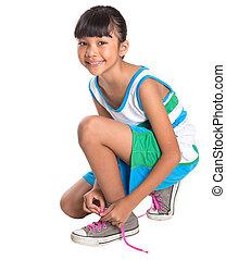 girl, dentelles chaussure, attachement, jeune