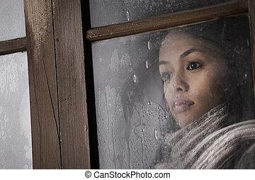 girl, derrière, fenêtre, beau