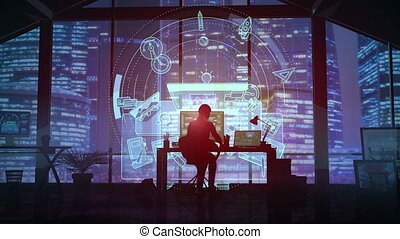 In the office of a large business center, a female designer works with a virtual projection in front of her.