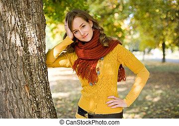 girl., deslumbrante, moda, outono