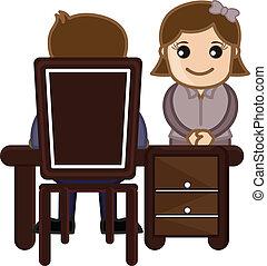 girl, dessin animé, bureau