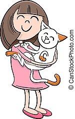 girl, dessin animé, chaton