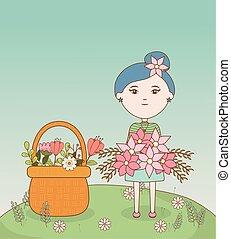 girl, dessin animé, cheveux, bouquet, fleurs, fleur