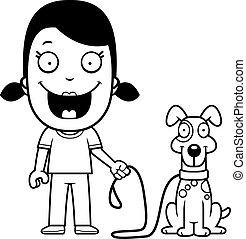 girl, dessin animé, chien marche